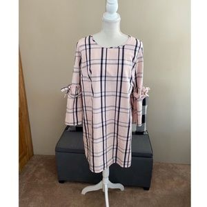 NWT Crown & Ivy Pink Plaid Dress Large